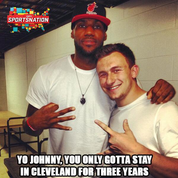 EXCLUSIVE: LeBron already telling Manziel how to leave Cleveland. http://t.co/2fsciCCztj