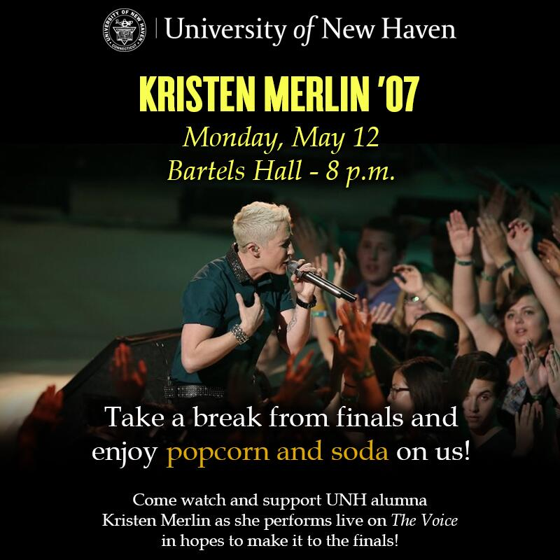 Come on out and support @UNHalumni's very own @KristenMerlin '07 on Monday at 8 p.m. #VoiceTop5 http://t.co/epT9xS239v