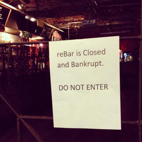 Rebar is closed & bankrupt. @rebarnyc say it ain't so! #dumbo #brooklyn http://t.co/U9g0LssSY2