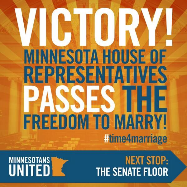 One year ago today: The Minnesota House of Representatives voted 75-59 in favor of the freedom to marry! http://t.co/3NHRvCkK9h