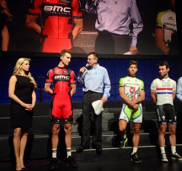Now on the @AmgenTourofCali stage: @taylorphinney @petosagan @MarkCavendish with @PaulSherwen @asteinkamp #ATOC2014 http://t.co/zT4XXUfa9S