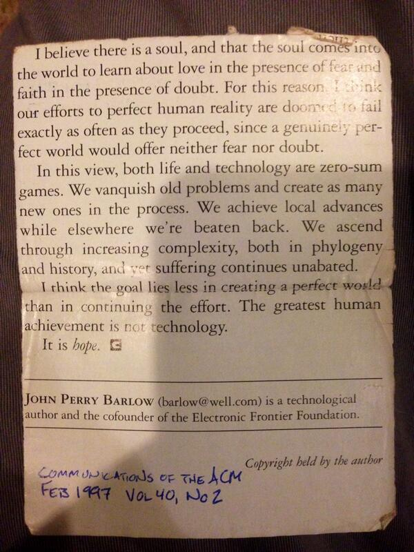 This clipping from a @JPBarlow article has been in my wallet for 17 years. Love-fear-faith-doubt-hope. http://t.co/O13EWmcliy