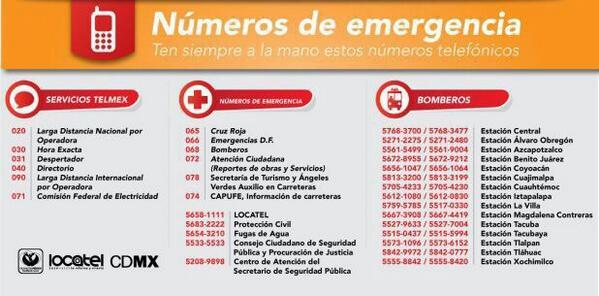 En caso de emergencia por sismo, les compartimos números de emergencia http://t.co/0an9WDOhRS