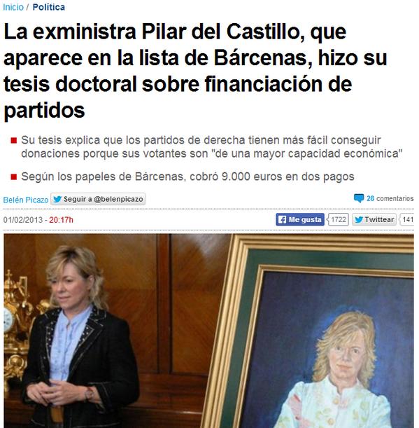 RT @itoguille: El PP lleva a Pilar del Castillo al #L6Ndebateuropa que cobró sobresueldos según los papeles de Bárcenas. Se lucen http://t.co/vkDi8UWsay