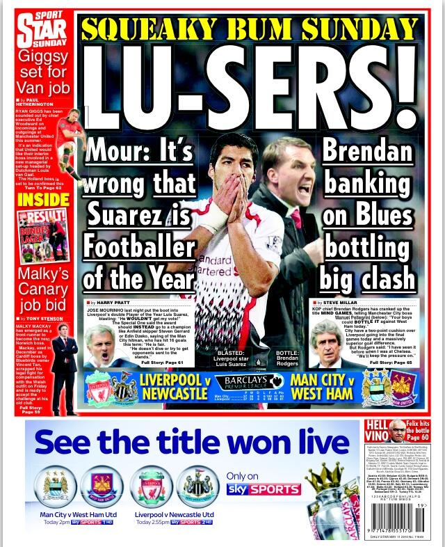 Chelsea boss Mourinho says Man Citys Dzeko should have won POTY, not Liverpools Suarez [Sunday Star]