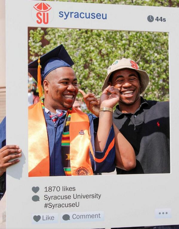 I am a fan of whoever came up with this @SyracuseU Instagram frame as a prop for #SUGrad14. Clever! http://t.co/FeYopH2PCa