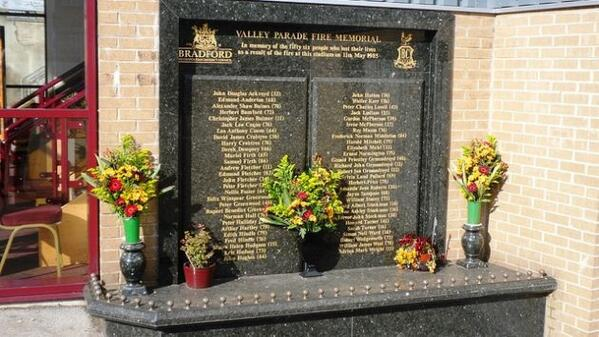 29 years ago today was the Bradford City Fire, killing 56 fans, may those who lost their lives never be forgotten http://t.co/OrTBrKLoxk