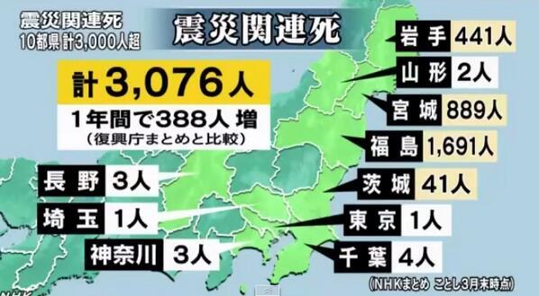 この震災関連死って言い方が大嫌いです。 津波で家を流されて避難して亡くなった人は震災関連死だけど、原発の放射能から避難して亡くなった人は人災関連死です。自然ではなく、人が殺したんです。  東日本大震災の震災関連死 3000人超える http://t.co/GS9cg84UsT