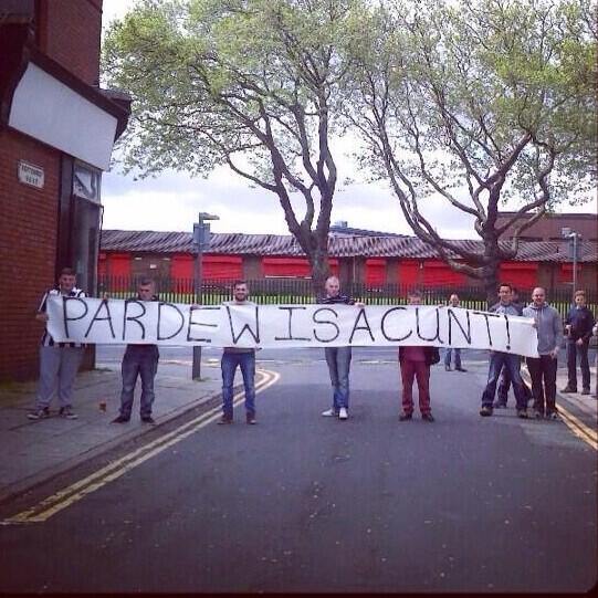 BnWgqn9CQAA ipf Pardew is a C**t: Newcastle fans take banners to Liverpool protesting against manager & Mike Ashley [Pictures]