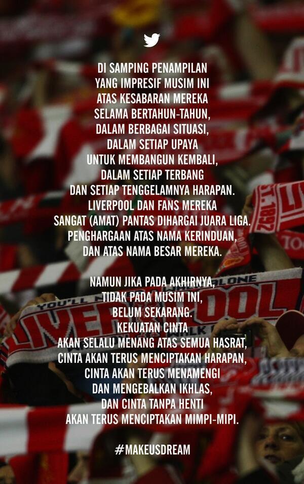Bangga Jadi Suporter @LFC @OfficialLFC_ID #WeGoAgain #RedsDreamBIG #Believe (pic: @dianqamajaya) http://t.co/F5UpIrF5OJ