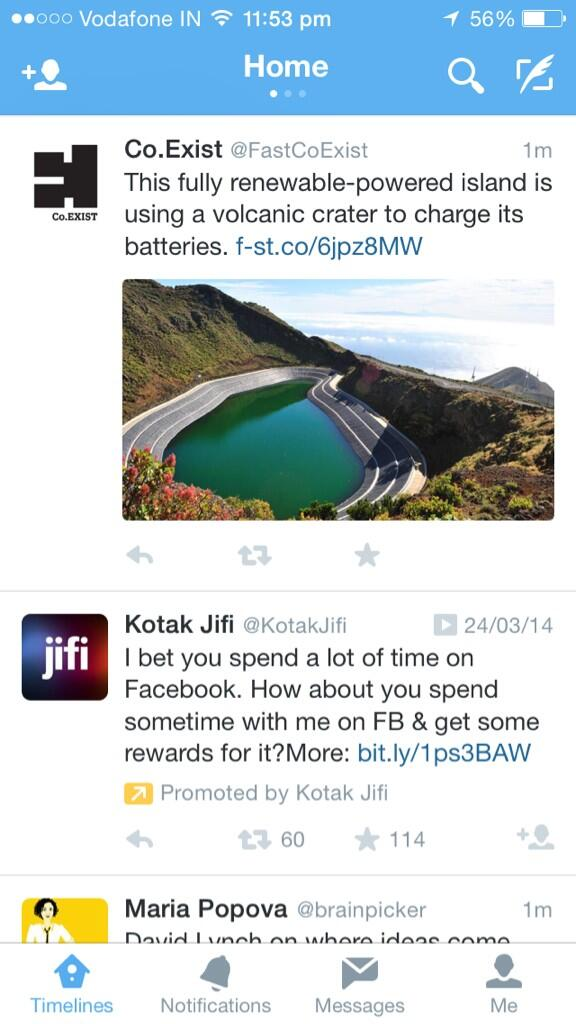 Wow, Kotak is advertising about Facebook on Twitter. They must be having the most intelligent social media agency. http://t.co/5Ugy6gjjZ5