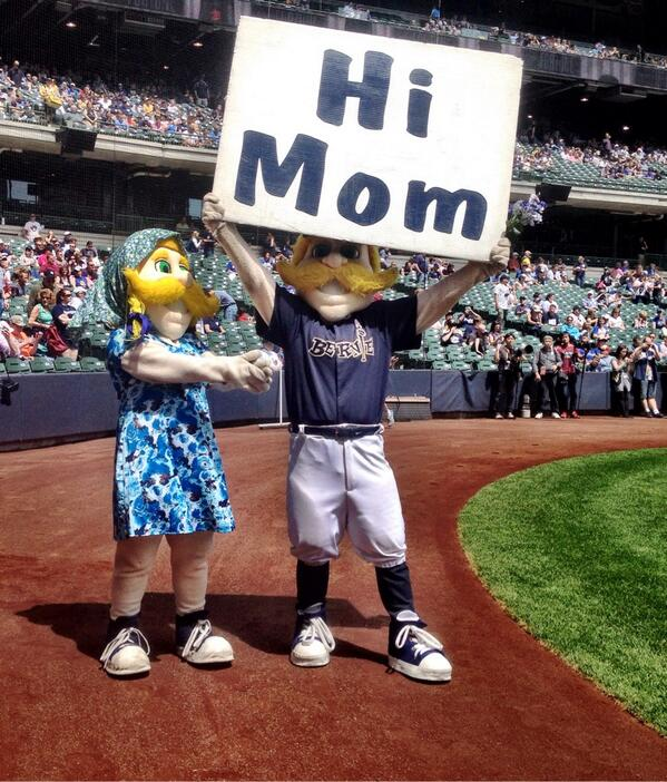 My mom is at the game today! #HappyMothersDay mom!!!!! #Brewers #MILvsNYY http://t.co/sEI4x9g1GE