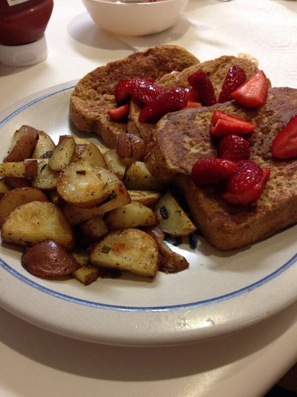 RT @Rusty_Bill: @GuyGourmet Rosemary Garlic Roasted Potatoes from the mag and homemade Wheat Bread French Toast. http://t.co/b5TP1iiG7E