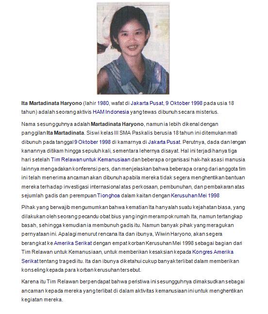Untuk mereka yg kelewat muda utk ingat peristiwa Mei 1998, saya perkenalkan nama ini: Ita Haryono. Tolong dibaca! http://t.co/9Me5CIOF15