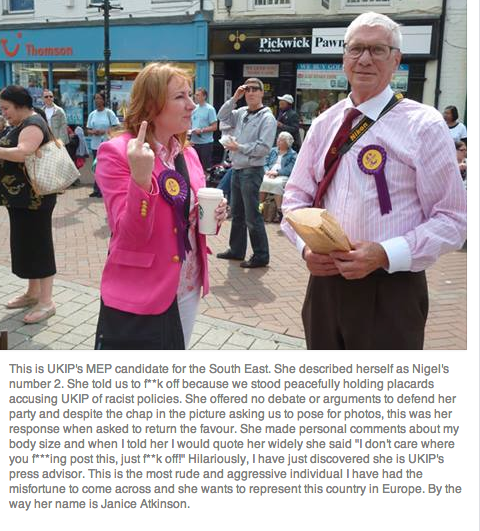 Love this photo by Maria Pizzey- It perfectly captures this UKIP candidate's sophisticated handle on political debate http://t.co/IFjTMFz8eD