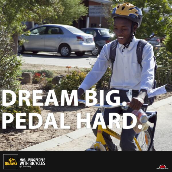 """""""@Qhubeka: #MondayMotivation http://t.co/Q3ey1VeuTn""""  Real life ; the power of cycling as a sport and as a lifestyle!"""