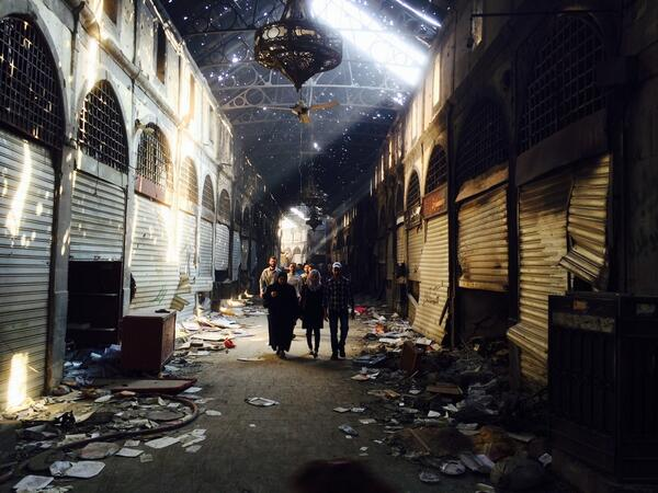 The destroyed ancient bazar of old Homs #Syria. http://t.co/PJxHDS8JYh