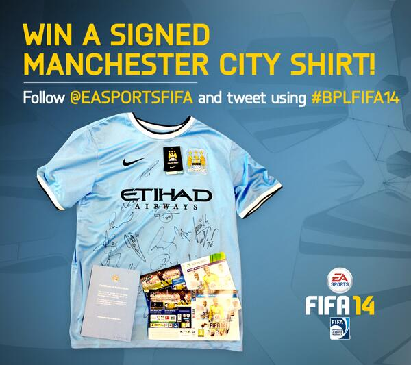 Win a signed shirt from @premierleague champions @MCFC! Follow @EASPORTSFIFA and Retweet using #BPLFIFA14 http://t.co/EPnG7hwz1U