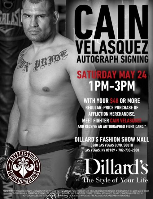 Meet @UFC Heavyweight Champ @cainmma May 24th 1-3pm at Dillard's #LasVegas for @Affliction #ufc173 http://t.co/Qd9BF3i7Y6