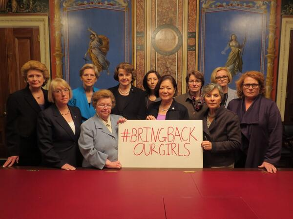 Standing shoulder to shoulder with women of the Senate to say enough is enough - #BringBackOurGirls! http://t.co/LrJrCD9Uu4