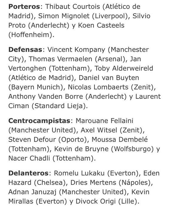 Lista de 24 futbolistas de Bélgica. Una de las selecciones europeas más estimulantes: http://t.co/rOUir2GpKW http://t.co/RwvVAMil0a