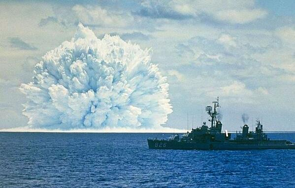 An underwater nuclear test being conducted during Operation Dominic, Pacific Coast off California, 11 May 1962 http://t.co/RGh1nFr8zs