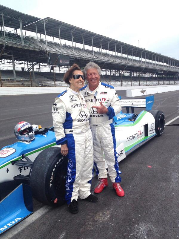 I just gave 102-year-old Edith a ride in the 2-seater around Indianapolis Motor Speedway. http://t.co/bNyrDS4FRy