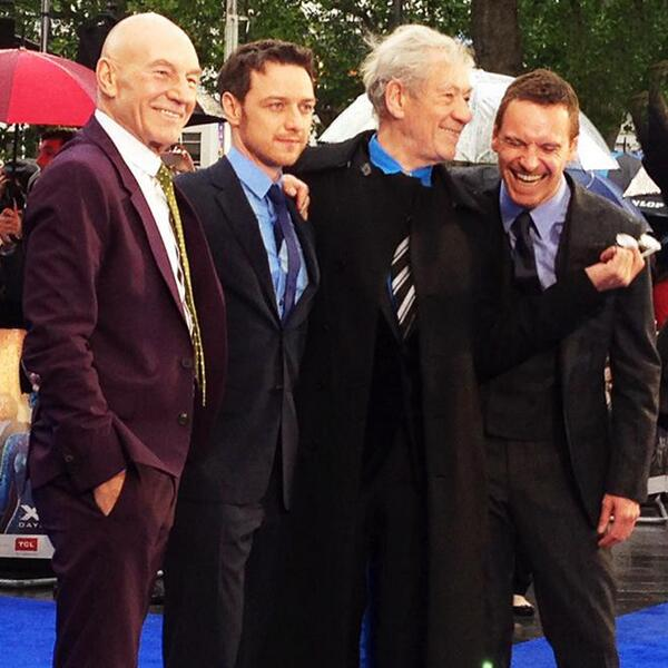 RT @IanMcKellen: Last night in London, the X-MEN landed and the two Magnetos had a reunion. http://t.co/aaR3ID6F42