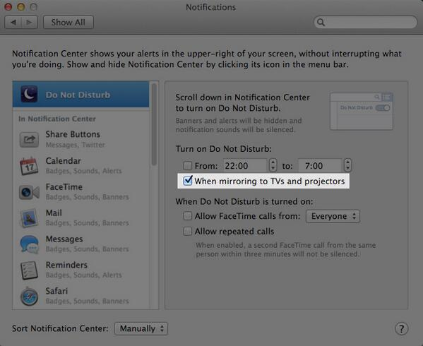 """PSA: if you ever connect your Mac to projectors, turn on """"Do Not Disturb when mirroring"""" in Notifications prefs. http://t.co/qawG7qSwRn"""