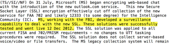 """Hey, @microsoft, care to explain what developing """"surveillance capability"""" with the FBI to """"deal with SSL"""" entails? http://t.co/wryiMDN9Dt"""
