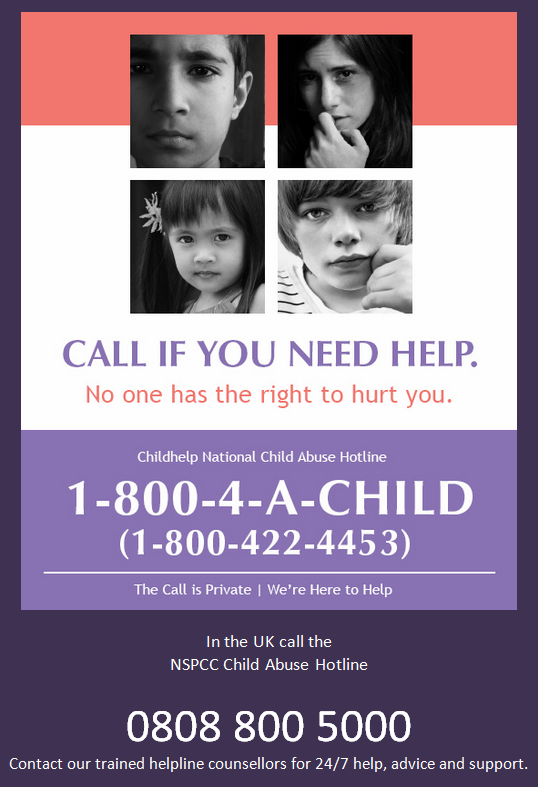 Call if you or someone you know needs help.   Report it! #StopChildAbuse w/@helpspreadthis http://t.co/SvjWd1MjqD ⊕http://t.co/DZp1p96vyS