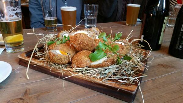 Scotch Egg nest at @TheVintageLeith Beer Club http://t.co/yOIfP9ygTt