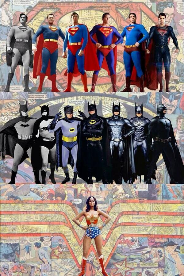 Every Superman, Batman, and Wonder Woman from movies and TV. http://t.co/sZO8Wzjk0J