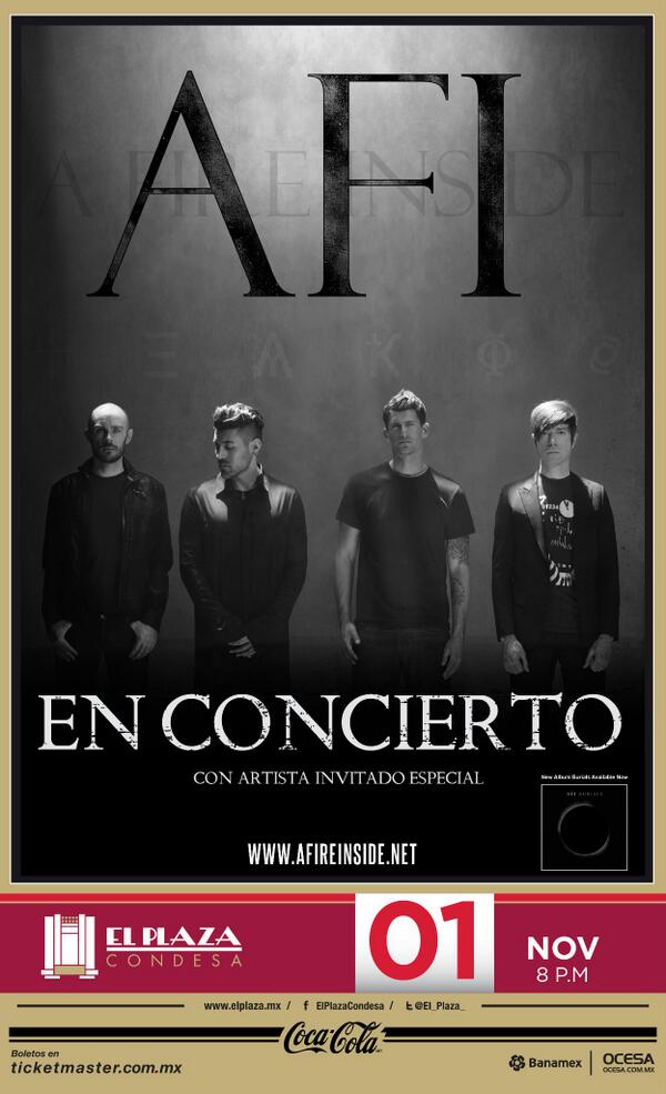 AFI to play El Plaza Condesa in Mexico City NOV 1. Tickets on sale this FRI, MAY 16. http://t.co/Pp2h7awUNI