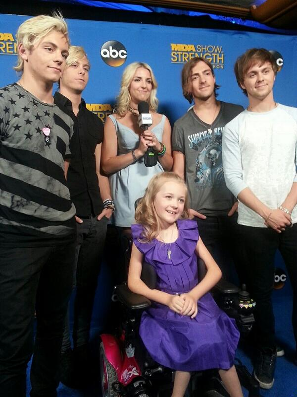 Awesome! MDA National Goodwill Ambass. Reagan Imhoff with her new friends @officialR5 at the #MDAtelethon! http://t.co/O1LkU8OMKN