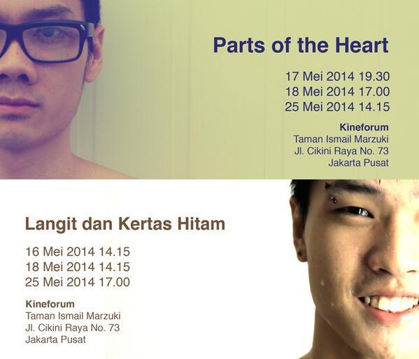 My films @partsoftheheart & Langit dan Kertas Hitam di @kineforum mulai 17 Mei. cc @InfoScreening @FILM_Indonesia http://t.co/aRJTMygi97