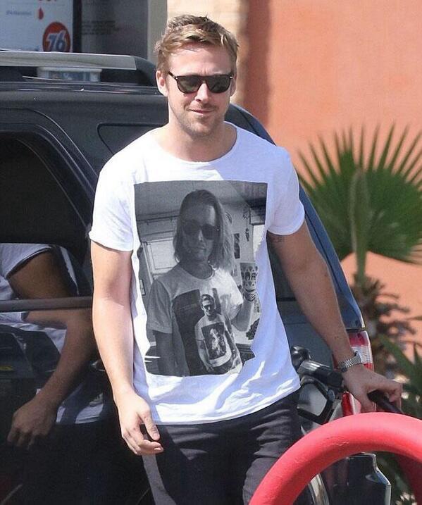 Ryan Gosling wearing a t-shirt of Macauley Culkin wearing a t-shirt of Gosling wearing a Macauley Culkin t-shirt. http://t.co/zdQxI7XhYL