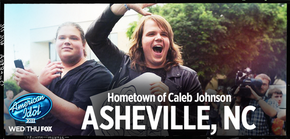 #AmericanIdol: Shout out to @CalebPJohnson's hometown of Asheville, NC! http://t.co/OLqSe6JK80 http://t.co/9LZO3pksiI