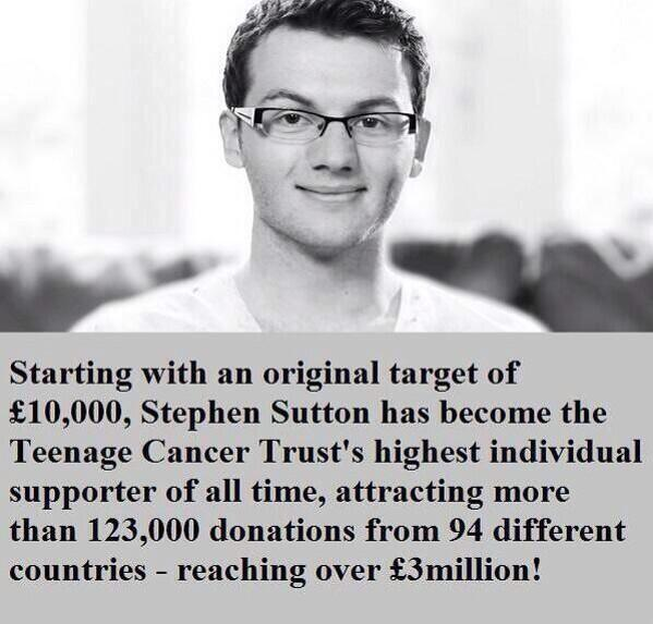 19 years old, and raised over £3 million for the Teenage Cancer Trust. A true inspiration. RIP Stephen Sutton. http://t.co/R9ADhu1Mtl