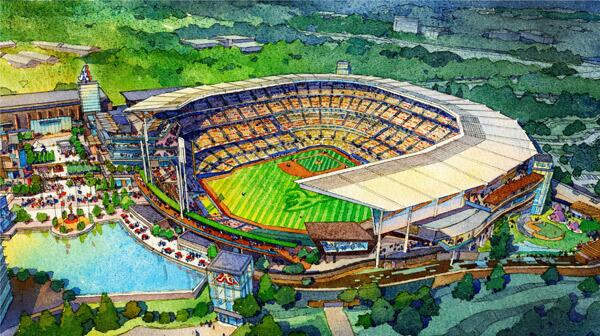 New rendering of #Braves ballpark in Cobb. More to come on http://t.co/O1aznTHbde http://t.co/LgNeR2uTYI