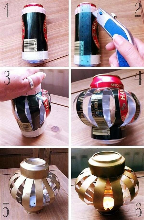 RT @GetOfficePlus: #DIY Wed - W/ warmer weather coming, these spray painted can lanterns are perfect outside. Just pop in a tealight. http://t.co/jmgC1fzWtL