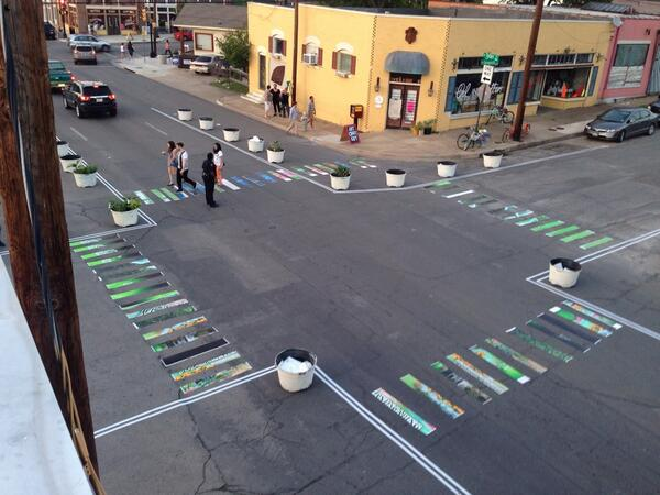 RT @PurpleClarence: Remember this cool crosswalk  @TheBetterBlock photo I tweeted? @Streetfilms video nearly done! http://t.co/EiRBWUVrE1