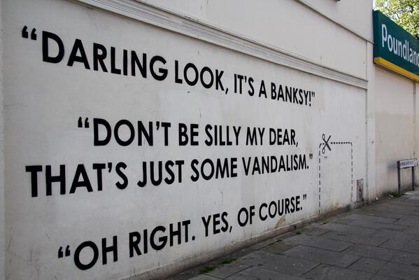 Hee hee @hookedblog Darling Look, It's A Banksy. New street work from Mobstr ahead of his London show @trumanbrewery http://t.co/Oz77Z5xiIf
