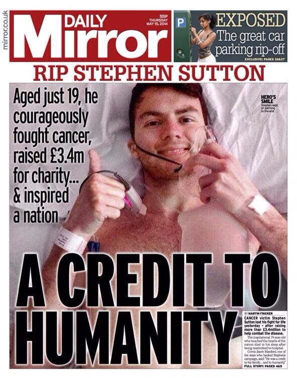 Delighted to say Mirror front page tmrow is a tribute to @_StephensStory - what an inspirational guy http://t.co/KXC0aWMJml