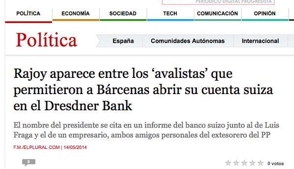 Xose Morais (@XoseMorais): Rajoy avaló a Bárcenas para que pudiera abrir su cuenta en Suiza. Pero
