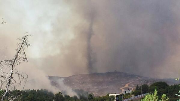 A @SanDiego6 viewer sent in this photo of a fire twister in Escondido , wow http://t.co/U0J5Rio9kI