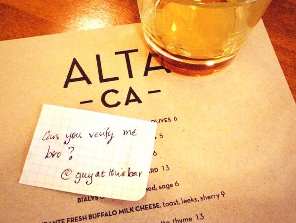 Meeting @dickc for a drink and somebody just sent us complimentary scotch with this note. http://t.co/PNN710EuDr