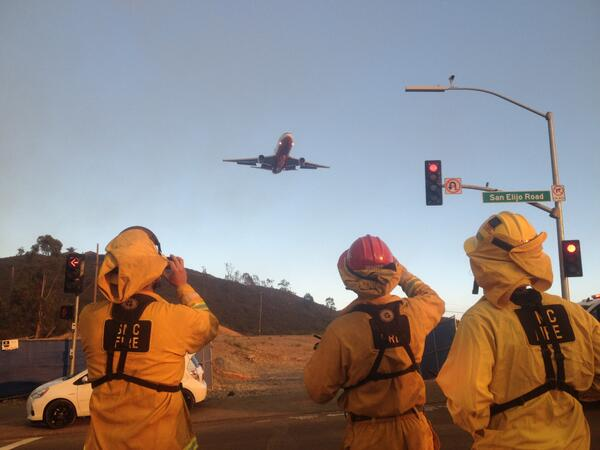 To the rescue we hope. @stevenlukenbc took this pic #SuperTanker DC-10 to help douse the #SanMarcos fire. #NBC7 http://t.co/6lDclt2Pjq