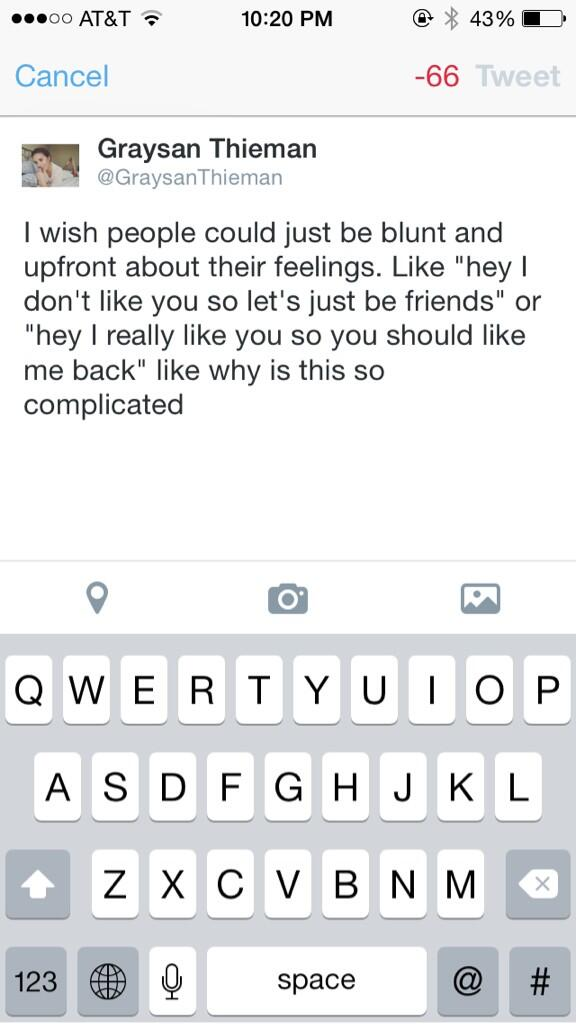 I wish people could just be blunt and upfront about their feelings. http://t.co/ee59nQdgwD