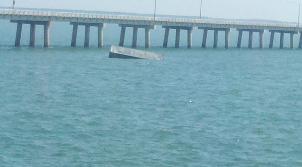 So yeah, that's definitely a tractor trailer that went off the Chesapeake Bay Bridge! Yikes! North bound lanes closed http://t.co/VZGOOZKttV